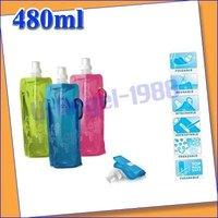 10pcs/lot Portable folding sports water bottle/foldable water bottle 480ml(16oz)( orange colors) +free shipping