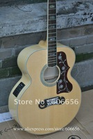 2012 New Style SJ-200 acoustic Dreadnought guitar natural Back / Side / neck Tiger + Fishman EQ Pickups HOT SALE