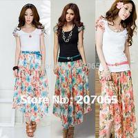 All Free Shipping Bohemian Summer Dress Cotton T + Broken Flower Dress ( With Belt),Women Dress Size S,M,L,XL,XXL 5 Color