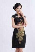 Black Womens Mini Qipao Cheongsam Evening Dress Chinese traditional dress  Size S M L XL XXL,XXXL