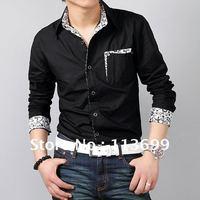 Free Shipping new fashionable cotton Slim Fit Stylish long sleeve shirt Mens Shirts Hot Dress Casual Shirts Size:M~XXXL