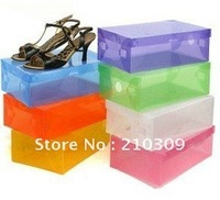 New arrival Free shipping Transparent shoe box / pp shoe box with cover for lady shoe (white)
