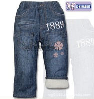Packet mail, children's clothing brand, thickening lamb flocking children jeans wholesale (for 90-120-CM 5 PCS/Lot)