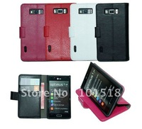 Free shipping&5pcs/Lot New Embossed leather case for  LG P700/P705 Optimus L7,inner standing