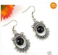The beautiful Tibet silver black jade earrings