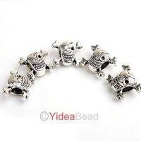 Hot Popular 50pcs Charms Skull Shape Alloy big hole beads Fit European Bracelets 151808