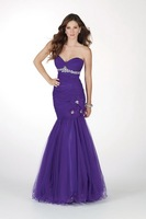 2013 Free Shipping!sweet neckline sheath beaded lace up mermaid tulle sheath custom-made evening dress