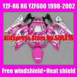 B295 HOT Pink FIAT for YZF-R6 98-02 YZF R6 YZFR6 R 6 YZF 600 YZF600 YZF-600 98 99 00 01 02 1998 1999 2000 2001 2002 Fairing Kit(China (Mainland))