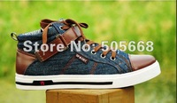Men's high shoes men's shoes canvas shoes men Korean England trend men's denim casual shoes
