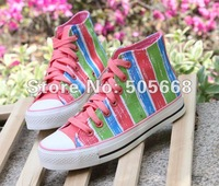 2012 fashion new stripes Women's Korean high-top canvas shoes sneakers shoes