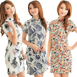 Women dresses new fashion 2013 casual dress cheongsam fashion chinese style summer tang suit formal dress elegant vintage 4(China (Mainland))