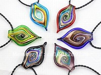 Hot sale 6pcs wholesale lots mix color new style gold dust murano lampwork plant glass pendant necklace jewelry Free Shipping