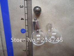 Handcraft Clearly Round Globle Glass DIY Purfume Vial Pendants Mental Cap BS2346(China (Mainland))