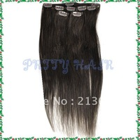 Retail 16inch, Clip in Straight Brazilian Remy Human Hair Extensions, Color #2,7183