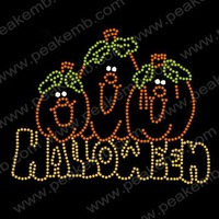Free Shipping Wholesale 30pcs/Lot Halloween Pumpkin Rhinestone Iron On Transfer Korean Quality