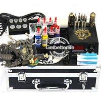 Complete Tattoo Kit 2 Guns10 Coils Power Supply Needles Set Equipment FREE SHIPPING(USA)