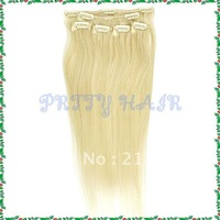 Retail 16inch ,Clip in Straight Brazilian Remy Human Hair Extensions, Color #613,7183