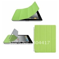 Green Super Slim Magnetic PU Leather Smart Cover Case Skin with Wake/Sleep for Apple the new Ipad 2/3, Free Shipping