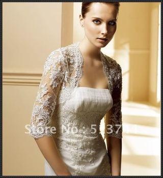 free shipping3/4 sleeve  Lace +Beads Wedding Bolero Jacket, Custom Any Color/Size