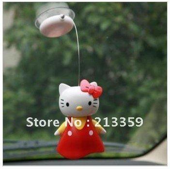 Free Shipping for KT Cat solar doll/Hello kitty solar car decoration/Suspension sucker solar KT Cat/shaking head doll/KT car(China (Mainland))