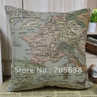 Free Shipping World Map Vintage Design European Map discount throw pillow covers