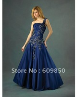 2013 Fast delivery customized  one shouldr  appliques  thrumpet navy blue  luxurious quinceanera dresses