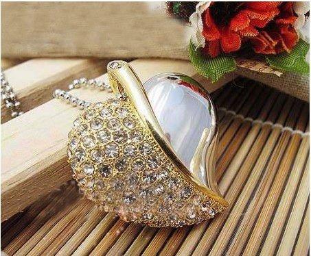 metal crystal heart necklace USB Flash Memory Pen Drive Stick 2GB 4GB 8GB 16GB 32GB LU007(China (Mainland))