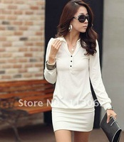 free shipping new women&#39;s long sleeve dress 100% cotton turn-down collor button slim bottoming dresses