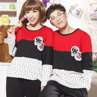 Spring and autumn male women's sleep set cartoon lovers cotton sleepwear long-sleeve