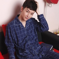 Spring and autumn male sleepwear 100% cotton sleepwear long-sleeve men's sleepwear casual lounge set rangel