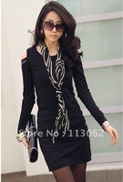 free shipping new women&#39;s long sleeve dress round neck rivet off shoulder slim bottoming dresses