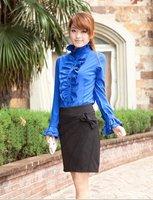 Fashion Miss Han Ban new wood ear shirt princess sleeves stand collar long-sleeved chiffon shirt C709