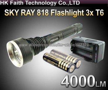 1 Set SKY-RAY 818 Flashlight 5 Mode 4000 Lumen 3 *CREE XM-L XML T6 LED Flashlight+2* 18650 4000mah Protected Battery+AC charger