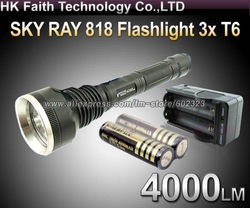 1 Set SKY-RAY 818 Flashlight 5 Mode 4000 Lumen 3 *CREE XM-L XML T6 LED Flashlight+2* 18650 4000mah Protected Battery+AC charger(China (Mainland))