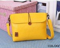 Ladies Yellow Messenger Bags Leisue Sling IPAD MINI Handbags Women Clutch Evening Bag Leather Candy Color Korean Wholesale