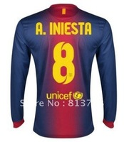 12-13  8# A. Iniesta home blue red long sleeve soccer jersey cheap jerseys sell shipping 2012-2013