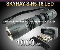 Free DHL, 20SETS,R5 T6 Flashlight,5 Mode 1000lm CREE XM-L T6 LED Flashlight+2 4000MAH 18650+ travel charger+pouch