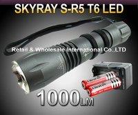 Free DHL, 20SETS,R5 T6 Flashlight,5 Mode 1000lm CREE XM-L T6 LED Flashlight+2 3000MAH 18650+ travel charger