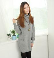 Autumn and winter new arrival heap turtleneck medium-long sweater loose long-sleeve sweater 6614