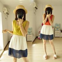 High quality sleeveless chiffon skirt 610