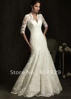 New Hot Sale Mermaid V-Neck Spaghetti Straps Floor Length Custom Made Cheap Lace Wedding Dress/Wedding Gown/Bridal Wedding Dress