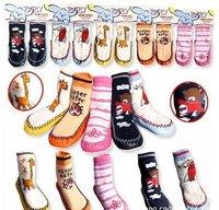 infant/ baby leather sole  socks , cute anti-slip kids floor socks ,20 pairs/lot ,Free shipping