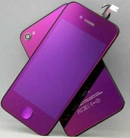 Plating Purple Display LCD Digitizer Touch Screen Glass full KIT Assembly Set+Back HOUSING Cover replacement for iPhone 4S