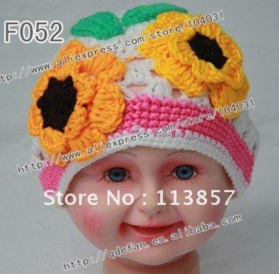 Free shipping (5pc/lot) knitting children's beanie white and yellow flower free crochet pattern baby girls hats(China (Mainland))