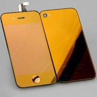 Plating Orange LCD Digitizer Touch Screen Display Assembly+Replacement repair Back Cover full HOUSING for iPhone 4S