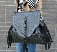 free shipping, new design , Punk skull rivet tassel totes bag, tassel shoulder bag , sling bag !