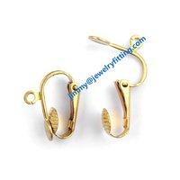 2014 New Fashion jewelry findings brass leverback earring clip ear wire  clip earring fitting
