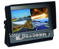 Hot car / bus waterproof monitor  with 4 video inputs and Mode Full image/2 images/3images/4 images adjustable