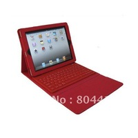 Red Quality PU Leather Case Skin Cover with Wireless Bluetooth Keyboard for new ipad2 ipad3, free and drop shipping