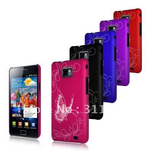 Butterfly Hybrid Hard Case Cover For Samsung I9100 Galaxy S2+ free shipping(China (Mainland))